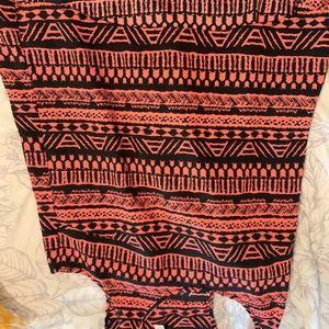 Tribal coral and black tank